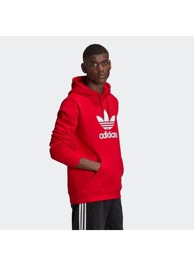 adidas Adidas Erkek Günlük Giyim Sweatshirt Trefoil Hoodie Gd9924 Kırmızı